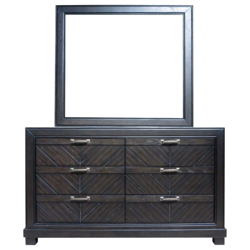 Montana rustic six drawer dresser and mirror set by steve silver