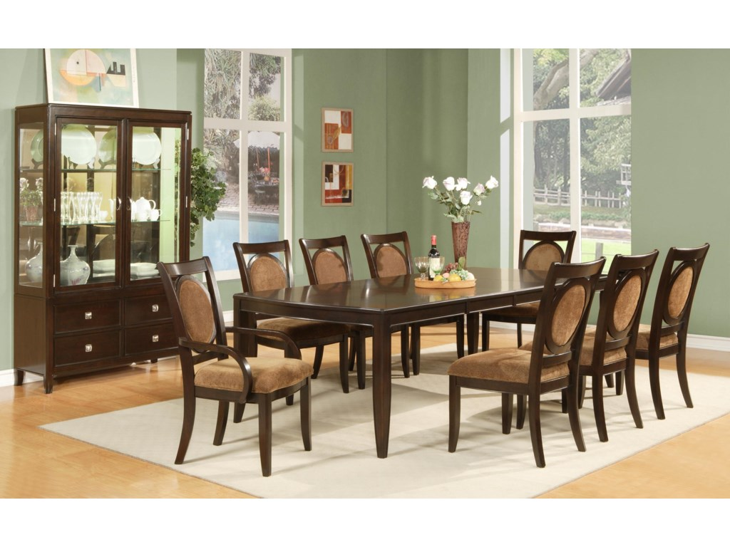 Shown with Dining Table, Arm Chairs, and Side Chairs