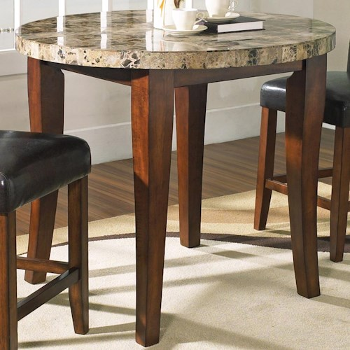 Steve Silver Montibello Transitional Round Marble Veneer Top Pub Table