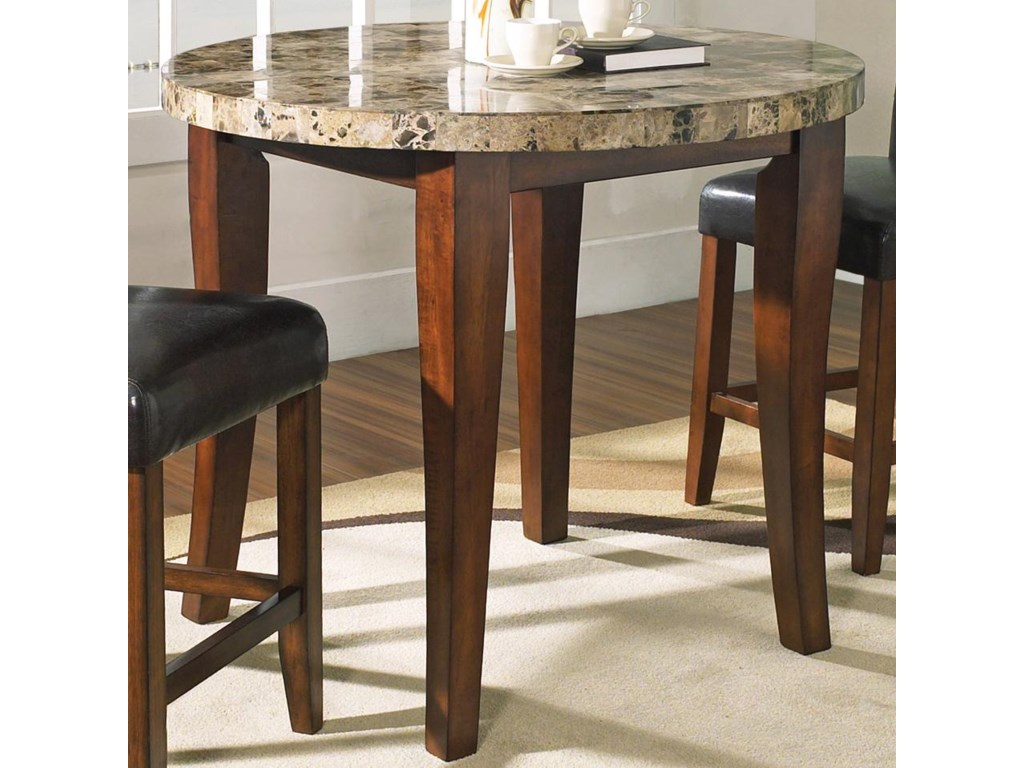 Montibello Transitional Round Marble Veneer Top Pub Table