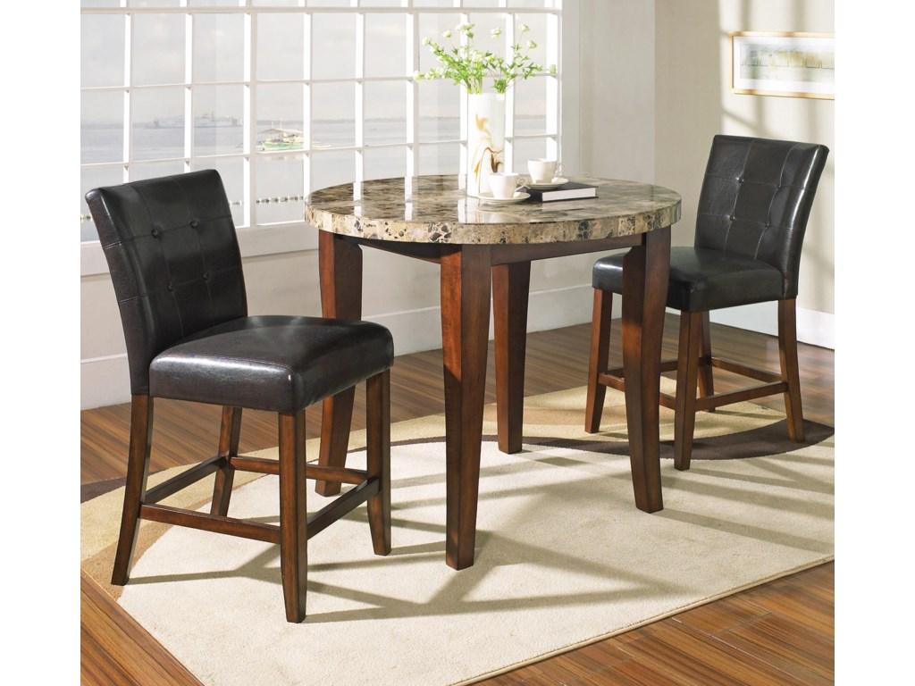 Table Top Detail Shown With Coordinating Counter Chairs