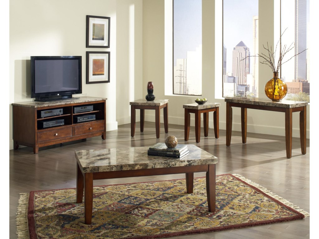 Shown with Coordinating TV Cabinet, End Table, Chair Side End Table, and Sofa Table