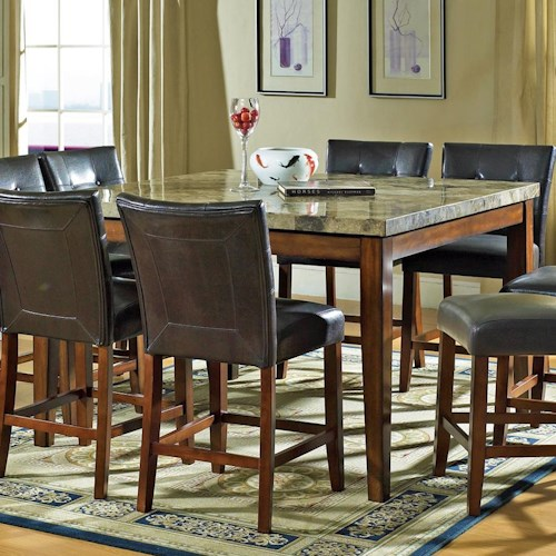 Steve silver montibello mn5454pt square counter height table steve silver montibello transitional counter height marble veneer top dining table watchthetrailerfo