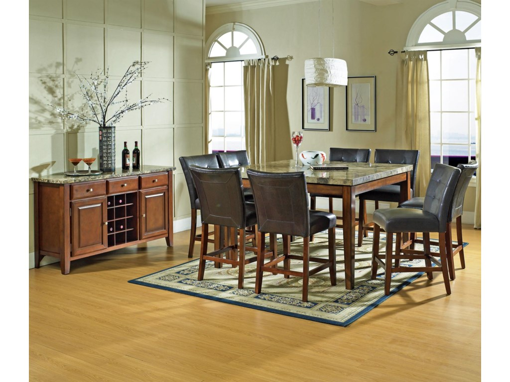 Shown with Coordinating Counter Height Stools and Server