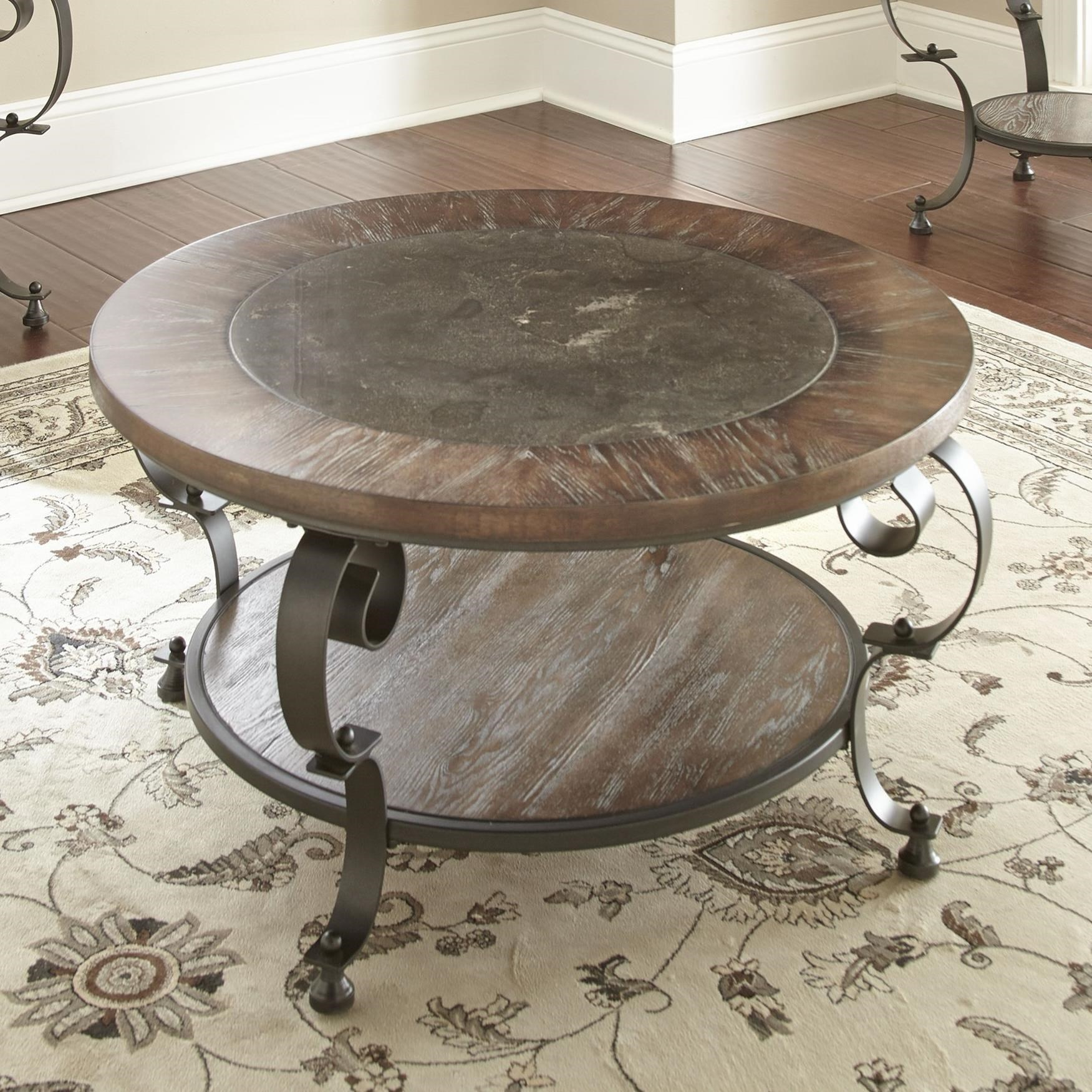 steve silver mulberry scroll legged round cocktail table with bluestone insert great american home store tables