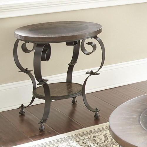 Steve Silver Mulberry Scroll Legged Round End Table with Bluestone Insert