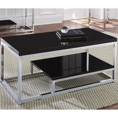 Steve Silver Madelyn Rectangle Cocktail Table with Display Shelf and Metal Frame