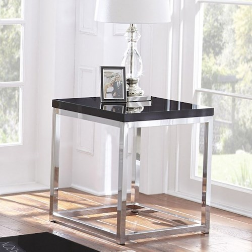 Steve Silver Madelyn Square End Table with Metal Frame