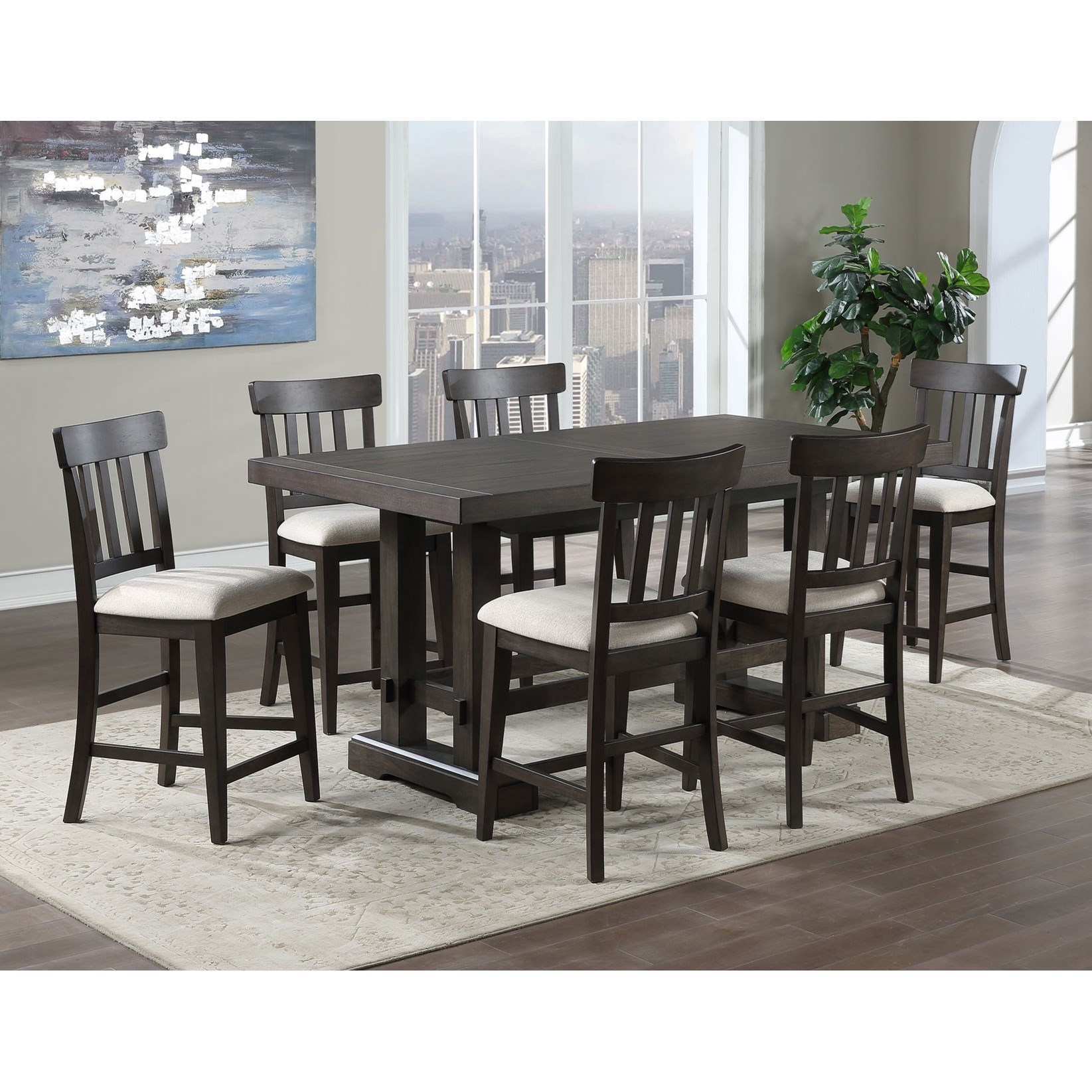 Contemporary 7-Piece Counter Height Dining Set with Leaves