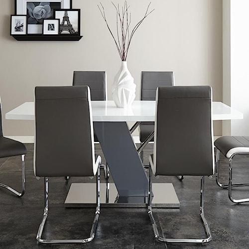 Steve Silver Nevada White Rectangular Table with Chrome Plated Base