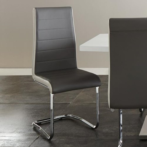Steve Silver Nevada Two Tone Breuer Side Chair in Faux Leather
