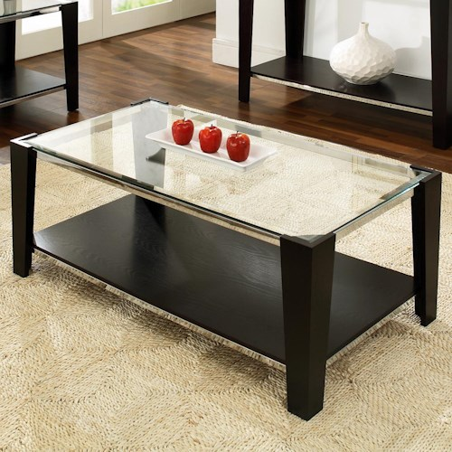 Steve Silver Newman Glass Top Cocktail Table