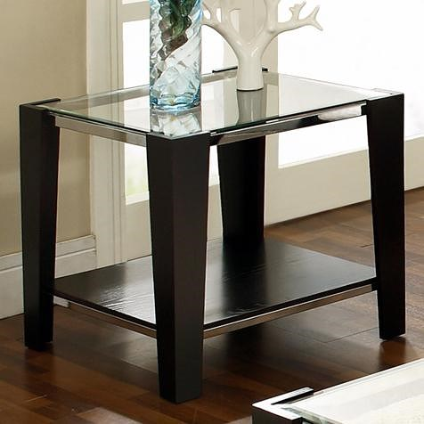 Steve Silver Newman Glass Top End Table with Shelf