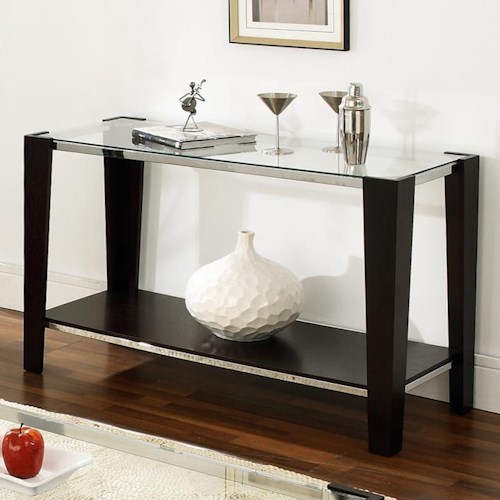 Steve Silver Newman Glass Top Sofa Table with Shelf
