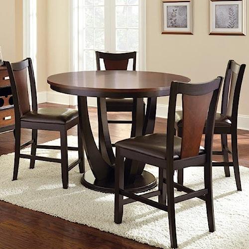 Steve Silver Oakton 5 Piece Single Pedestal Counter Table Set