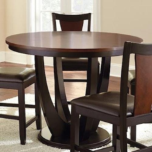 Steve Silver Oakton Brown/Black Round Single Pedestal Counter Table