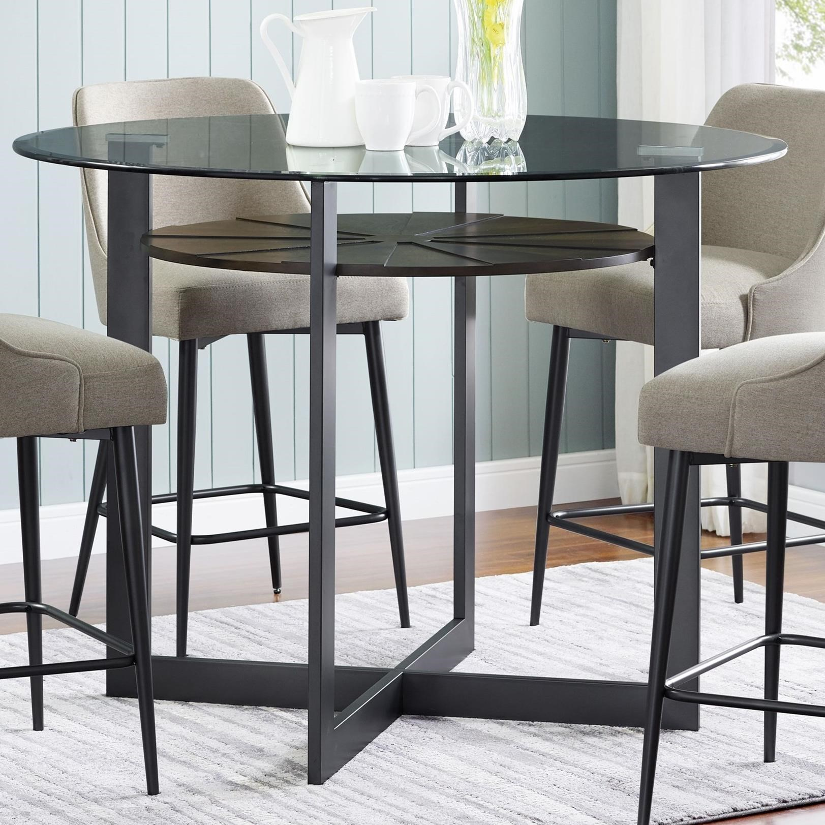 Contemporary Round Glass Counter Table with Iron and Birch Base