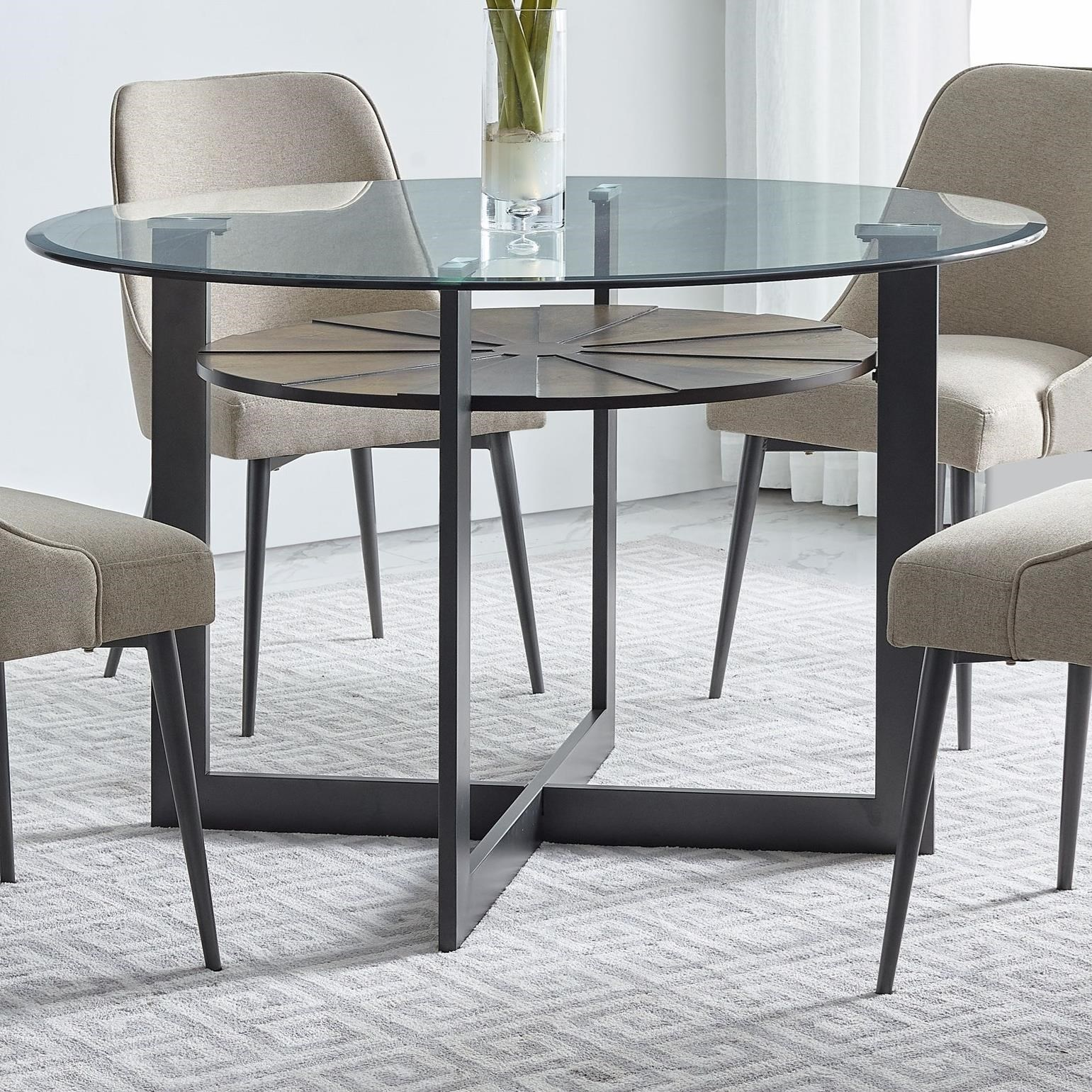 Contemporary Round Glass Dining Table with Iron and Birch Base