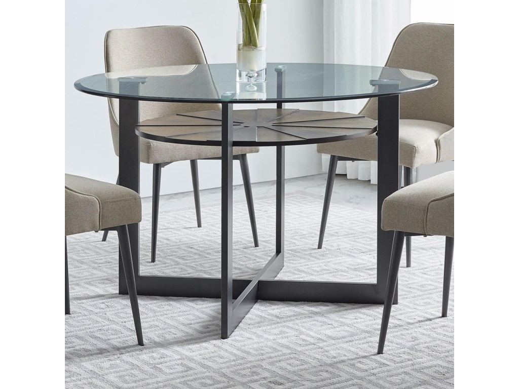Olson SS Contemporary Round Glass Dining Table with Iron and Birch Base by  Vendor 3985 at Becker Furniture World