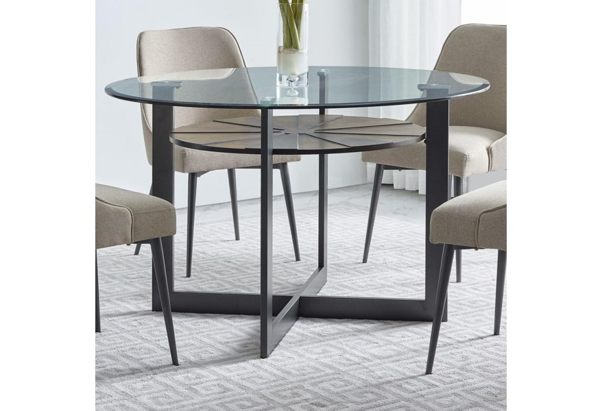 Steve Silver Olson Ss Os480db Gt Contemporary Round Glass Dining Table With Iron And Birch Base O Dunk O Bright Furniture Dining Tables