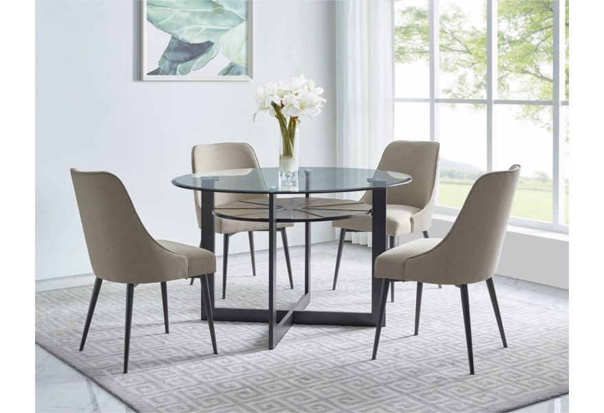 Steve Silver Olson Ss Contemporary Round Glass Dining Table With Iron And Birch Base Dunk Bright Furniture Dining Tables