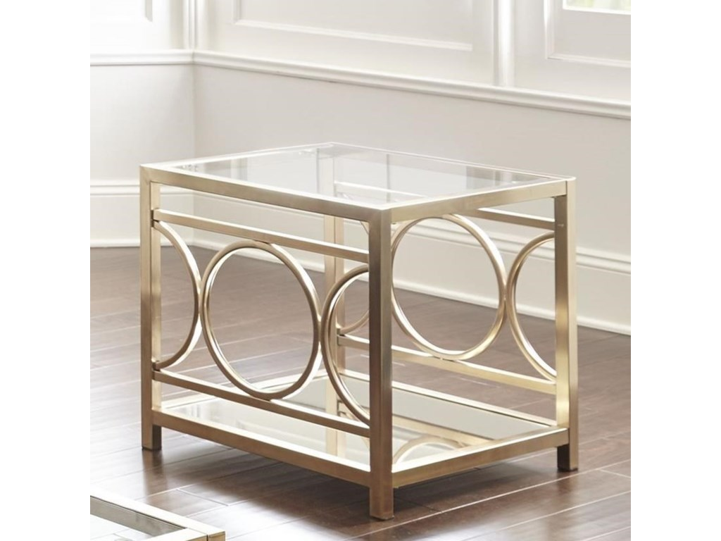 Glam Metal And Glass End Table Olympia By Steve Silver Wilcox