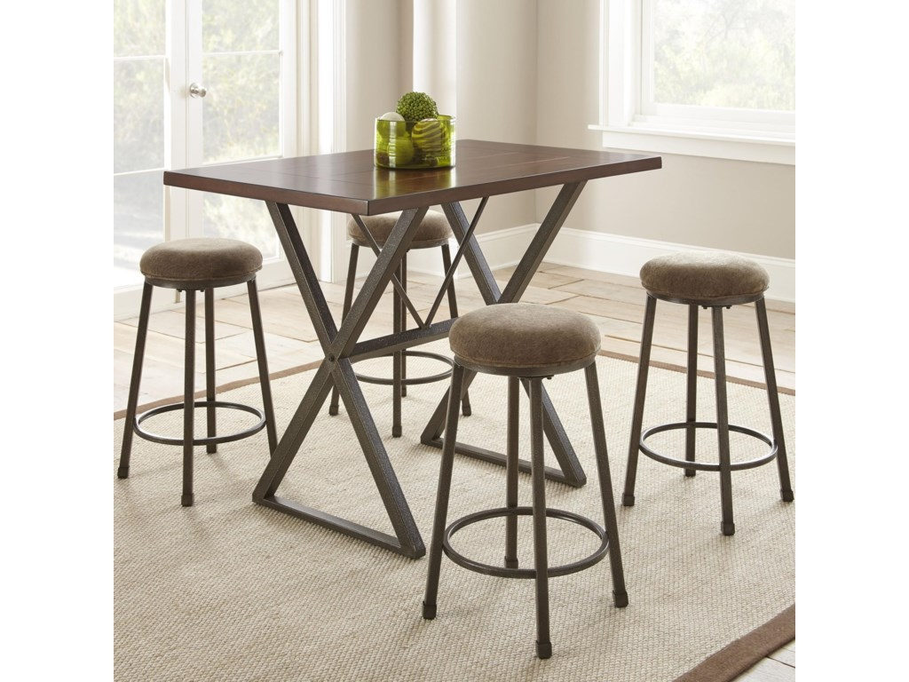 Steve Silver Omaha 5 Piece Industrial Counter Height Dining Set ...