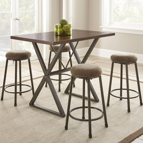 Steve Silver Omaha 5 Piece Industrial Counter Height Dining Set