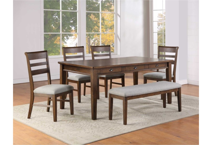 Steve Silver Ora Casual 6 Piece Table Chair And Bench Set With 6 Drawers A1 Furniture Mattress Table Chair Set With Bench