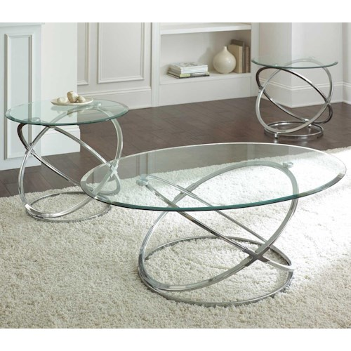 Steve Silver Orion 3 Piece Occasional Set with Geometric Metal Bases