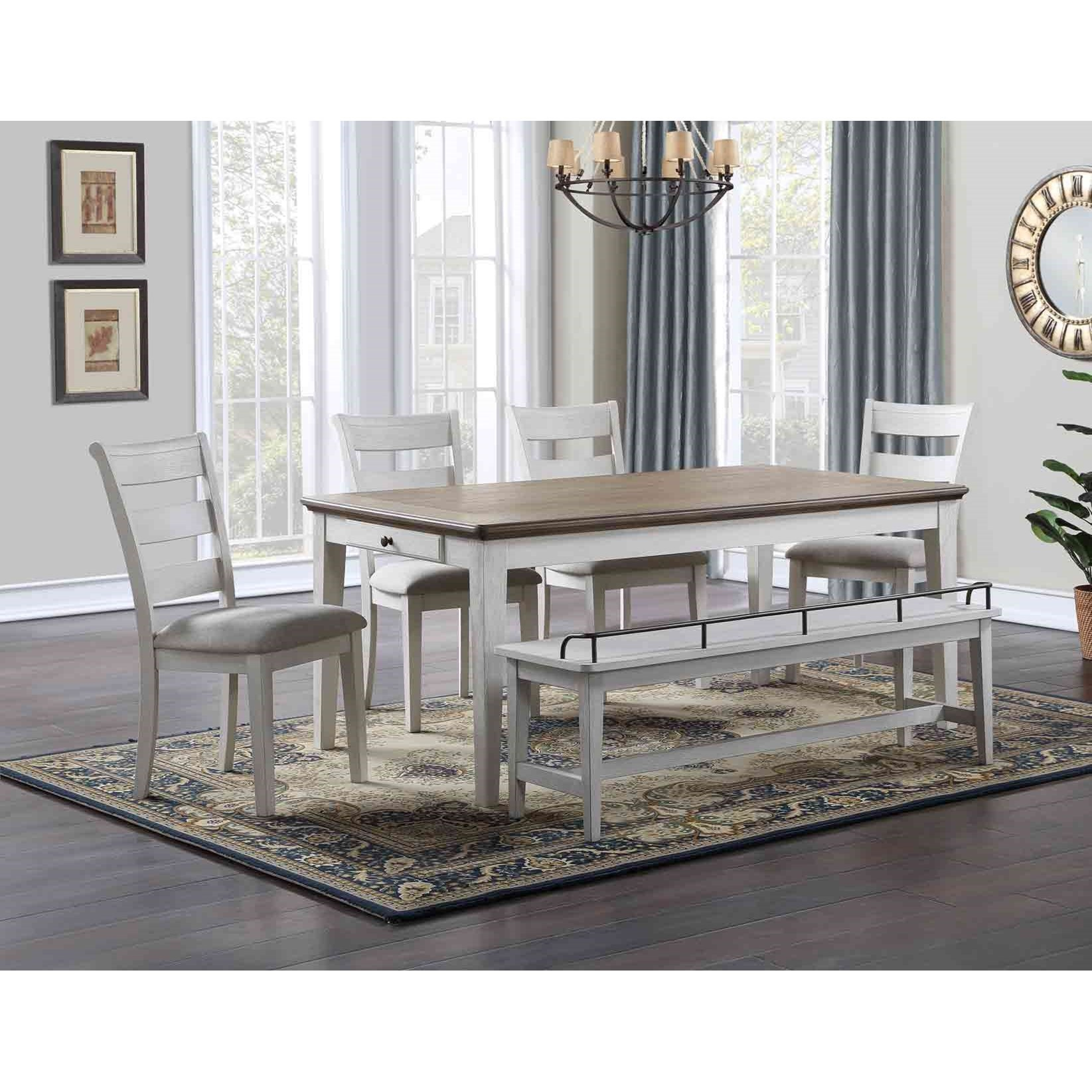 Modern Farmhouse 6-Piece Formal Dining Set with Bench
