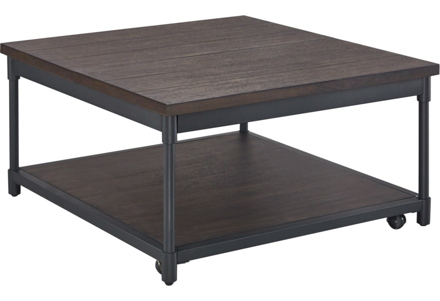 Steve Silver Prescott Rustic Lift Top Square Cocktail Table W Casters Standard Furniture Cocktail Coffee Tables