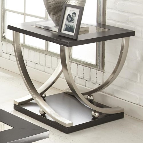 Steve Silver Ramsey Square End Table with Antique Mirror Top
