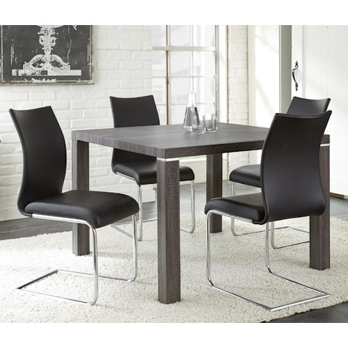 Steve Silver Randall 5 Piece Table with Charcoal Gray Finish and Upholstered Chair Set