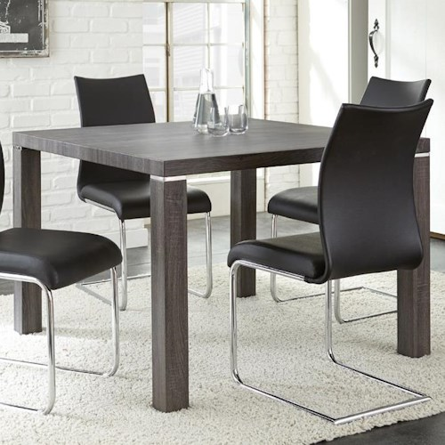 Steve Silver Randall Charcoal Gray Finish Silver Shield Kitchen Dining Table with Laminate Top and Chrome Accents