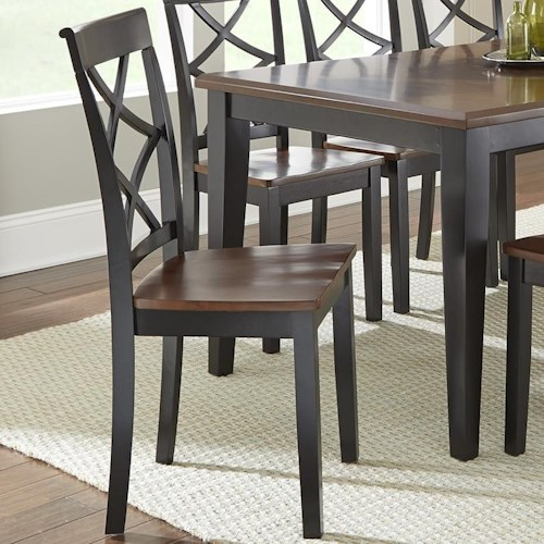 Steve Silver Rani  Two Tone Side Chair with Scooped Wood Seat
