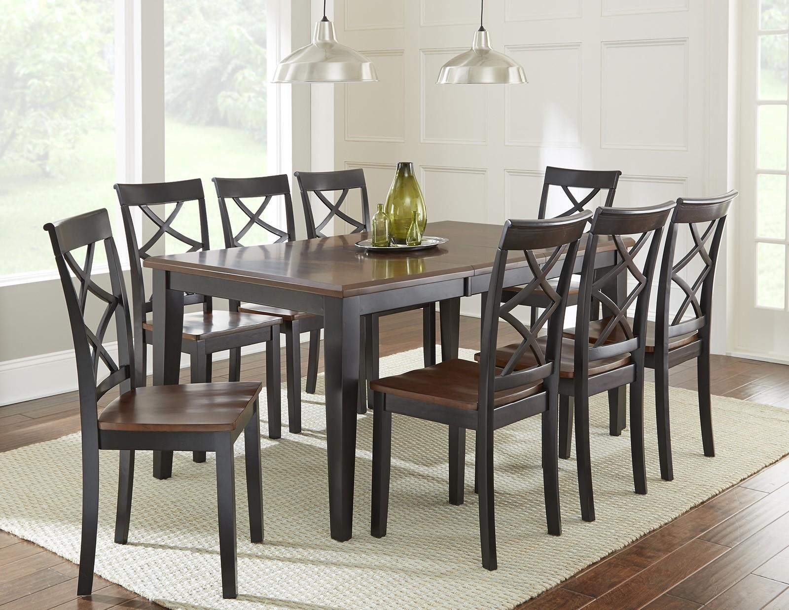 steve silver rani 9 piece dining set with two tone brown/black top