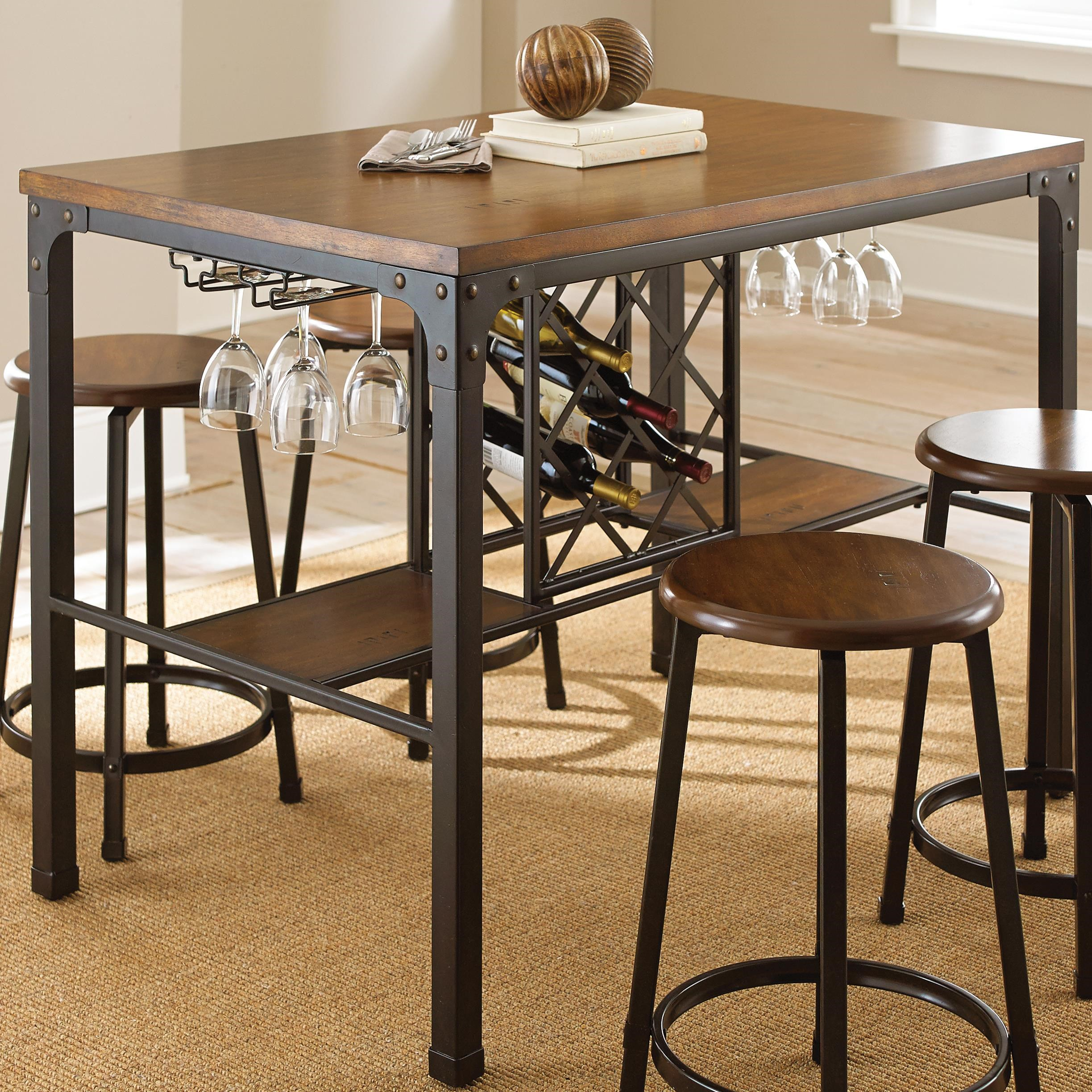 Rectangular Counter Table with Wine Storage
