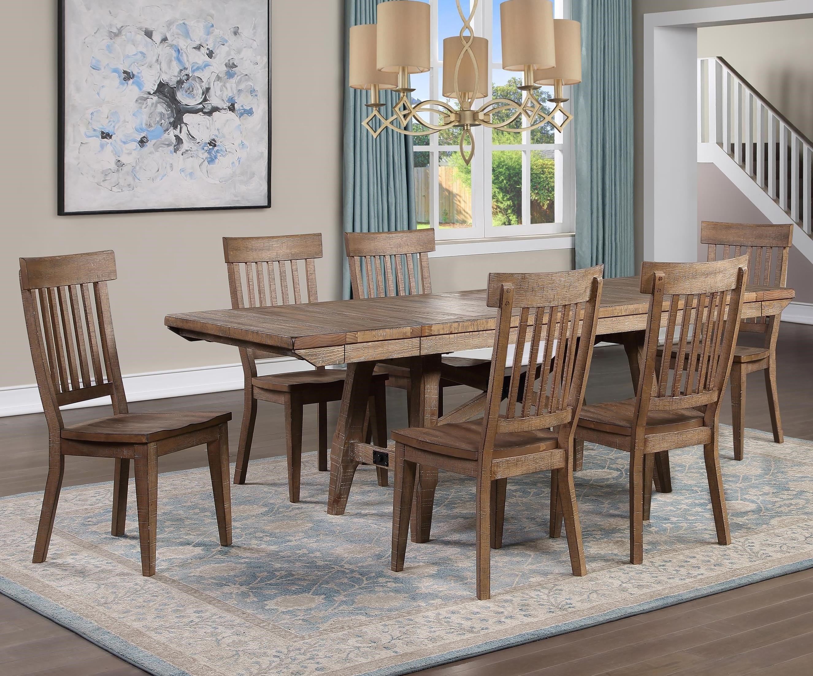 Rustic 7-Piece Dining Table Set with Expandable Leaves