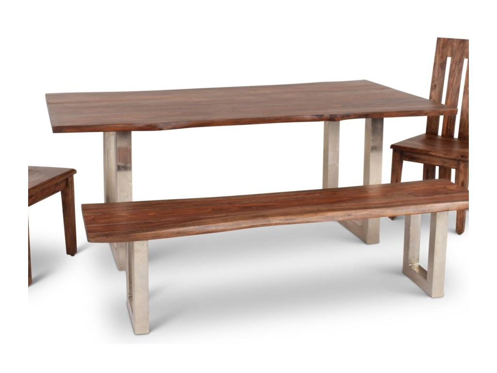 Riverwood global contemporary wood dining table with matte chrome legs