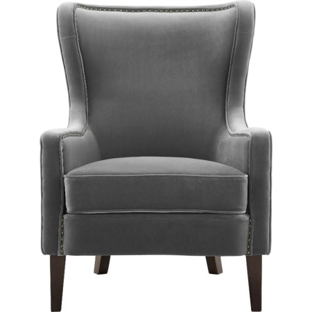 Velvet Accent Chair w/ Nailhead Trim