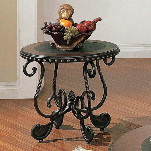 Steve Silver Rosemont Traditional Round Metal End Table