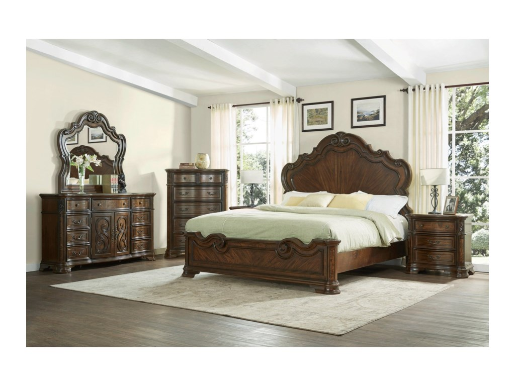 Steve Silver RoyaleQueen Scroll Detail Bed