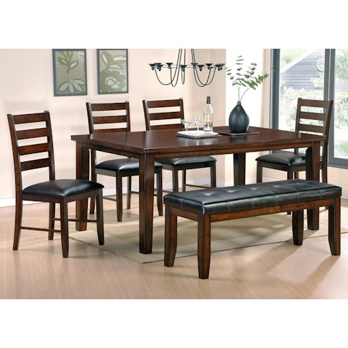 Steve Silver Sao Paulo 6-Piece Casual Dining Table, Bench, & Chair Set
