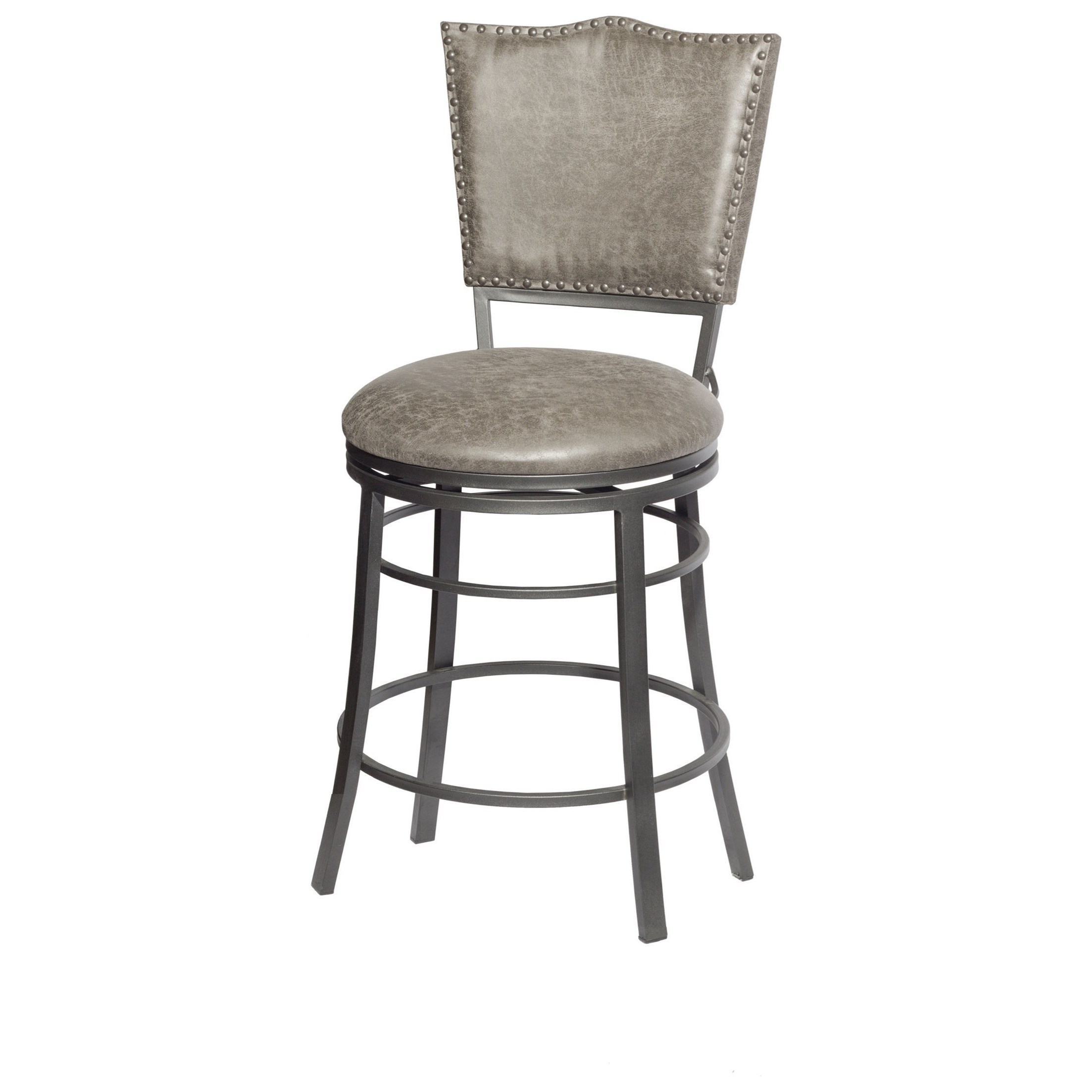 Transitional Swivel Counter Stool with Nailhead Trim and Scratch Resistant Finish