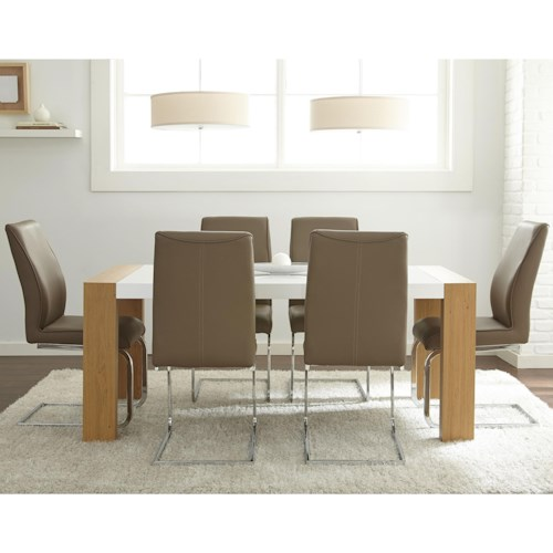 Steve Silver Scarlett 7 Piece Dining Set with Breuer Style Side Chairs