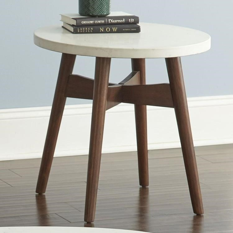 Silverstone® Round End Table with Solid Wood Base