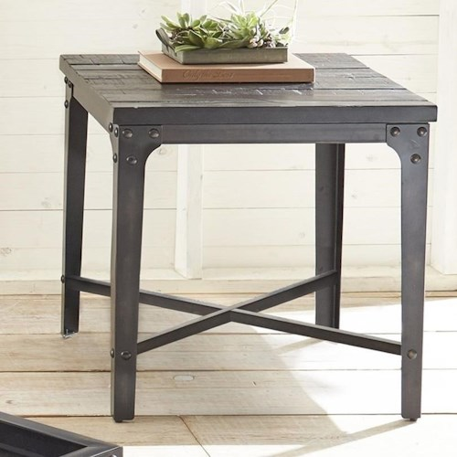 Steve Silver Sherlock Square End Table with Iron Frame