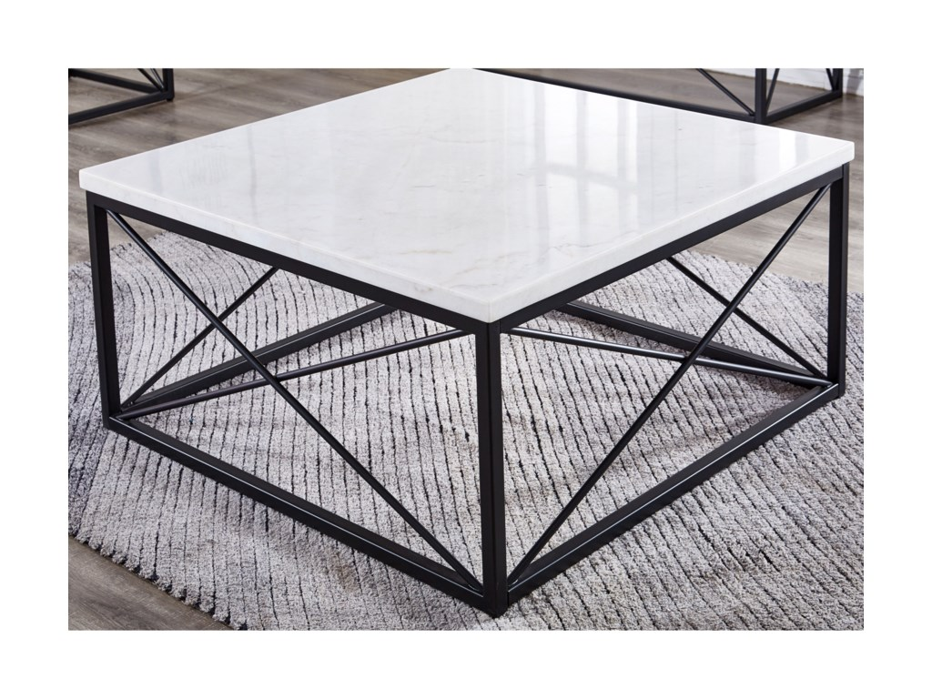 Morris Home SalterWhite Marble Top Square Cocktail Table