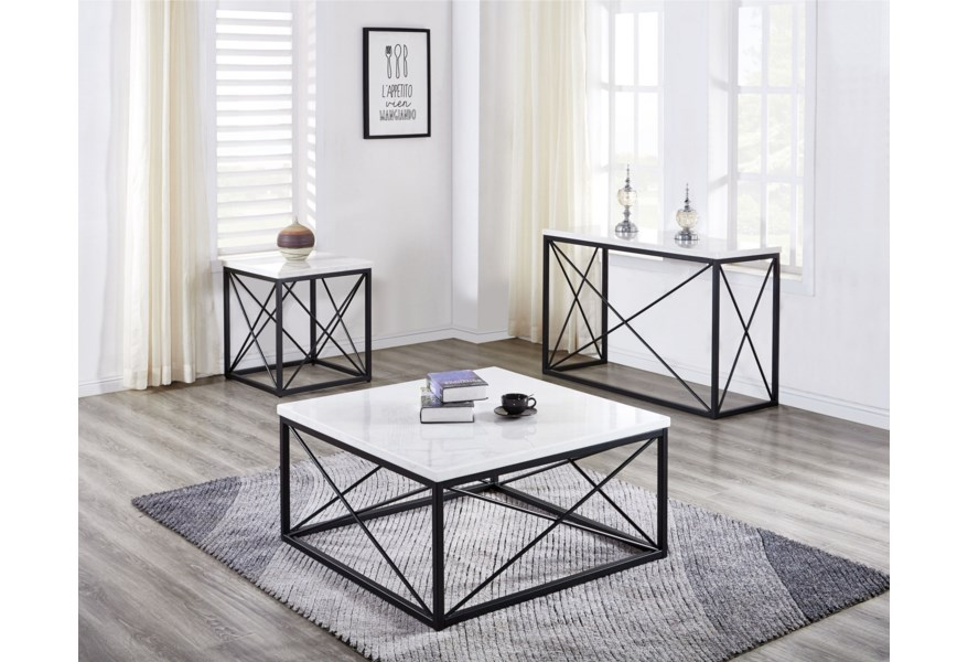 Steve Silver Salter Contemporary White Marble Top Square Cocktail Table Morris Home Cocktail Coffee Tables